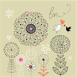 graphic black flowers with birds in love on a green background Stock Photo - Royalty-Free, Artist: tanor                         , Code: 400-06082725