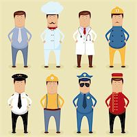 Vector worker set - ofice worker, chef, doctor, fireman, pilot, carpenter, policeman, porter Stock Photo - Royalty-Freenull, Code: 400-06082781