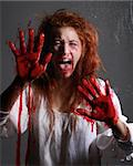 Woman in Horror Situation With Bloody Face Stock Photo - Royalty-Free, Artist: tobkatina                     , Code: 400-06082809