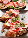 Canape with cream cheese, salami and herbs Stock Photo - Royalty-Free, Artist: Brebca                        , Code: 400-06082977