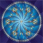 Round floral frame with gold flowers on blue background with rays (vector EPS 10) Stock Photo - Royalty-Free, Artist: OlgaDrozd                     , Code: 400-06083485