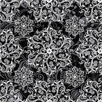 Black seamless background with round white floral pattern (vector) Stock Photo - Royalty-Free, Artist: OlgaDrozd                     , Code: 400-06083486