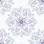 Gentle white-blue seamless background with round blue-violet floral pattern (vector) Stock Photo - Royalty-Free, Artist: OlgaDrozd                     , Code: 400-06084001