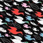 seamless pattern of duck graphic on black background Stock Photo - Royalty-Free, Artist: tanor                         , Code: 400-06084005