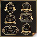 Set of black gold-framed labels in vector Stock Photo - Royalty-Free, Artist: Tontri                        , Code: 400-06084281