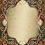 Vintage gold elegance frame with translucent flowers and gold curls (vector EPS 10) Stock Photo - Royalty-Free, Artist: OlgaDrozd                     , Code: 400-06084414