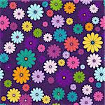 Seamless floral vivid pattern with colorful flowers and vintage curls (vector eps 10) Stock Photo - Royalty-Free, Artist: OlgaDrozd                     , Code: 400-06084562