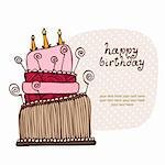 Birthday cake card with the text frame Stock Photo - Royalty-Free, Artist: fandorina                     , Code: 400-06084576