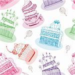 Vector pattern with birthday cakes and cupcakes Stock Photo - Royalty-Free, Artist: fandorina                     , Code: 400-06084627