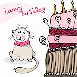 Birthday card with happy cat and cake Stock Photo - Royalty-Free, Artist: fandorina                     , Code: 400-06084652