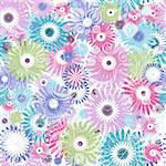 Seamless floral pastel pattern with colorful flowers and vintage curls (vector eps 10) Stock Photo - Royalty-Free, Artist: OlgaDrozd                     , Code: 400-06084676