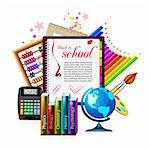 Back to school. Vector illustration on white Stock Photo - Royalty-Free, Artist: sermax55                      , Code: 400-06084780