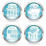 Set Buttons with Financial Business Icon - Bank, ATM, Piggy Bank and Graph Symbol, vector illustration Stock Photo - Royalty-Free, Artist: TAlex                         , Code: 400-06084853