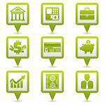 Set Map Pointers with Financial Business Icons, vector illustration Stock Photo - Royalty-Free, Artist: TAlex                         , Code: 400-06084854