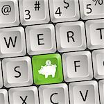 Computer keyboard with a key with a piggy bank, vector illustration Stock Photo - Royalty-Free, Artist: TAlex                         , Code: 400-06084856