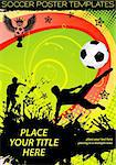 Soccer Poster with Players with Ball on grunge background, element for design, vector illustration Stock Photo - Royalty-Free, Artist: TAlex                         , Code: 400-06084859