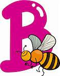 cartoon illustration of B letter for bee