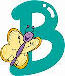 cartoon illustration of B letter for butterfly