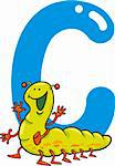 cartoon illustration of C letter for caterpillar