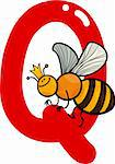 cartoon illustration of Q letter for queen bee