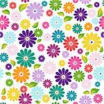 Seamless floral colorful pattern with flowers and green-yellow leaves (vector) Stock Photo - Royalty-Free, Artist: OlgaDrozd                     , Code: 400-06086895
