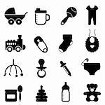 Baby objects icon set in black Stock Photo - Royalty-Free, Artist: soleilc                       , Code: 400-06087249