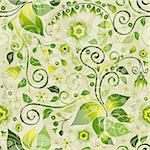 Seamless floral green pattern with flowers and vintage curls (vector eps 10) Stock Photo - Royalty-Free, Artist: OlgaDrozd                     , Code: 400-06087380