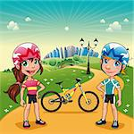 Park with young bikers. Funny cartoon and vector scene. Stock Photo - Royalty-Free, Artist: ddraw                         , Code: 400-06087842