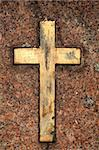 Golden grungy cross op red granite Stock Photo - Royalty-Free, Artist: Taigi                         , Code: 400-06088057