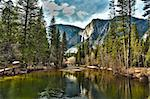 Dramatic Yosemite River and Upper Falls HDR Image. Stock Photo - Royalty-Free, Artist: Feverpitched                  , Code: 400-06088128