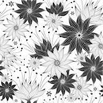 Seamless white and black floral pattern with vintage flowers (vector) Stock Photo - Royalty-Free, Artist: OlgaDrozd                     , Code: 400-06088211