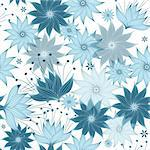 Seamless white-blue floral pattern with translucent flowers (vector EPS 10) Stock Photo - Royalty-Free, Artist: OlgaDrozd                     , Code: 400-06088305