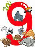 cartoon illustration with number nine and different animals Stock Photo - Royalty-Free, Artist: izakowski                     , Code: 400-06088453