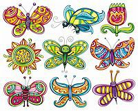 Butterfly icon set. Beautiful, cartoon, colorful butterflies with open wings isolated on white backgrounds, Icons set for you designs Stock Photo - Royalty-Freenull, Code: 400-06088583