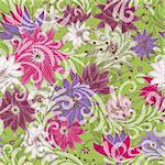Seamless floral green pattern with colorful vintage flowers and translucent curls (vector eps 10) Stock Photo - Royalty-Free, Artist: OlgaDrozd                     , Code: 400-06088640