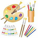 Tools for paintings, paintbrushes, pencils, palette on the white background. Also available as a Vector in Adobe illustrator EPS 8 format, compressed in a zip file. Stock Photo - Royalty-Free, Artist: Neokryuger                    , Code: 400-06088911