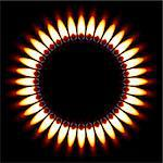 Red Gas Flame. Illustration on black background Stock Photo - Royalty-Free, Artist: dvarg                         , Code: 400-06089176