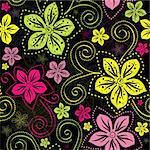 Seamless floral dark pattern with vivid colorful vintage flowers curls (vector) Stock Photo - Royalty-Free, Artist: OlgaDrozd                     , Code: 400-06090377