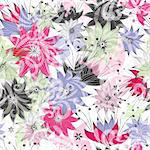 Seamless floral pattern with colorful flowers and transparent butterflies (vector EPS 10)