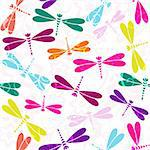 Seamless white pattern with colorful dragonflies and vintage curls (vector) Stock Photo - Royalty-Free, Artist: OlgaDrozd                     , Code: 400-06091432