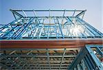 New home under construction using steel frames against a sunny sky. Stock Photo - Royalty-Free, Artist: LevKr                         , Code: 400-06091608