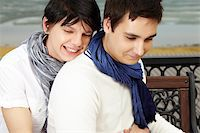 Cute gay couple cuddling at the romantic location Stock Photo - Royalty-Freenull, Code: 400-06091669
