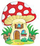 Cartoon mushroom house - vector illustration. Stock Photo - Royalty-Free, Artist: clairev                       , Code: 400-06091810