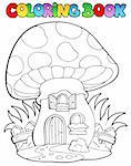 Coloring book mushroom house - vector illustration. Stock Photo - Royalty-Free, Artist: clairev                       , Code: 400-06091819