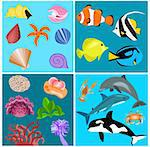 Illustration of different kind of sea animals and plants