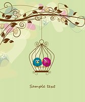 flower graphic - two colorful birds in a cage Stock Photo - Royalty-Freenull, Code: 400-06092525