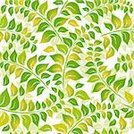 Seamless floral white pattern with green-yelllow leaves (vector) Stock Photo - Royalty-Free, Artist: OlgaDrozd                     , Code: 400-06092551