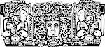 Woodblock style Mayan Triptych image with priests.