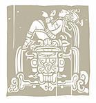 Reclining Mayan with throne adapted from temple images.