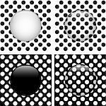 Vector - Set of Four Glass Circle Black and White Dots Stock Photo - Royalty-Free, Artist: gubh83                        , Code: 400-06092675
